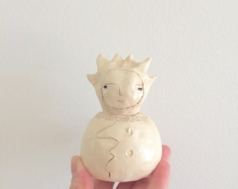 Chimerical Jar - hand built warm white pinch pot