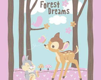 Disney Bambi Woodland Panel sewing quilting Cotton Woven