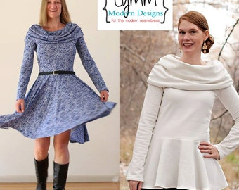 Off The Shoulder Dress & Peplum Womens XS-5X Downloadable .PDF Sewing Pattern/E-book
