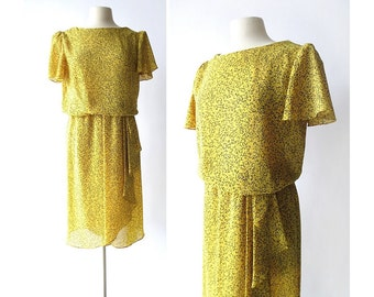 Vintage Leaf Dress | The Golden Bough | 1980s Dress | Yellow Dress | S M