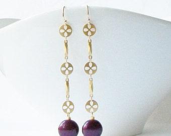 ON SALE Burgundy Pearl Dangle Earrings