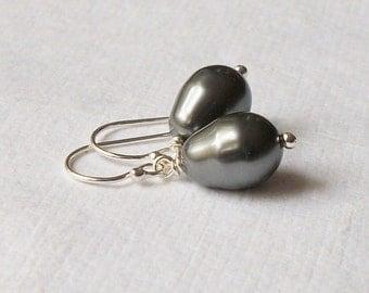 Dark Grey Pearl Drop Earrings Wedding Jewelry