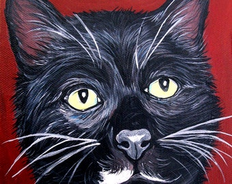 """CUSTOM 6x6"""" cat art painting from your photo"""