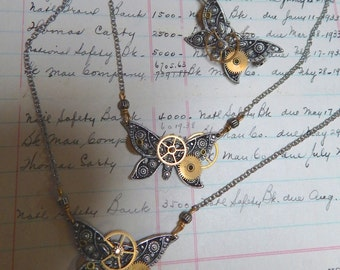 Steampunk Silver Butterfly Necklace with brass Gears