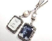 2 sided Wedding bouquet photo charm. DIY or I do photos. Pearl wedding charm. Memorial photo charm- 2 sided. Bridal shower gift. Sister gift
