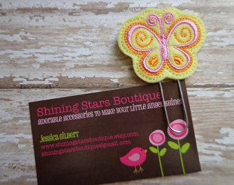 Felt Planner Clips For Girls - Light Yellow, Pink, And Orange Spring Butterfly Paper Clip Or Bookmark - Garden Bugs