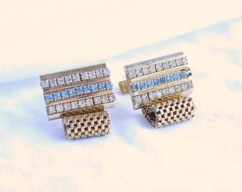 Mesh Rhinestone Cuff Links Mens Vintage Cufflinks Hipster Blue and Clear