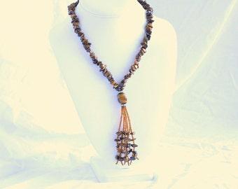 Tiger's Eye Tassel Necklace Vintage Beaded Brown Gold Polished Chip Dangles