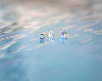 tiny round opal stud earrings // PETITE OPAL STUDS