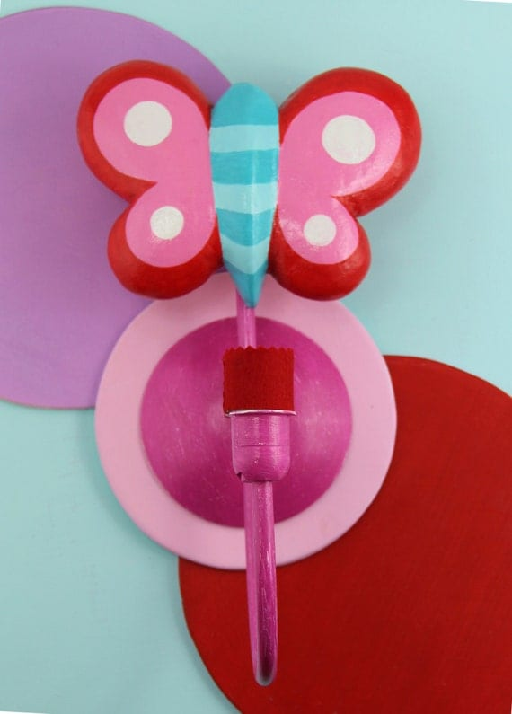 butterfly customizable nursery wall lamp in pink red and turquoise. Black Bedroom Furniture Sets. Home Design Ideas