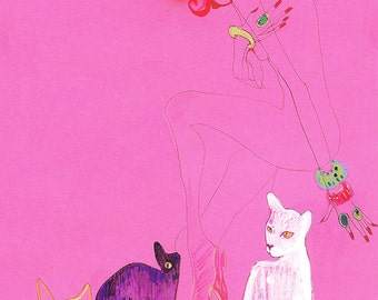 THE CAT LADIES Drawing Print / Cat Art / Blind Contour / Nude / Women / Cats (size/price range a4 & a3)