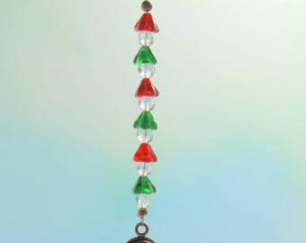 Glass and Copper Christmas Ornament Hanger - Red, Green, Crystal
