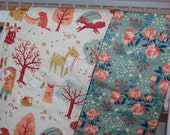 baby blanket,ORGANIC quilted baby blanket- acorn trail woodland critters- ready to ship