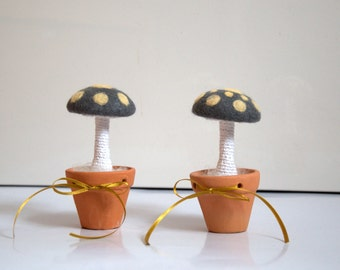 XL Mushrooms grey with yellow dots woodland nursery decorations table decor wool magic forest whimsy gift