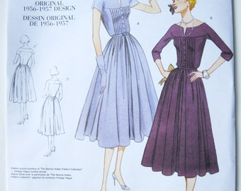 New Vintage Vogue Sewing Pattern Gathered Dress Original 1956 Design Reissued V1044 size D 12 14 16 Bust 34 36 38 Unused Factory Folded