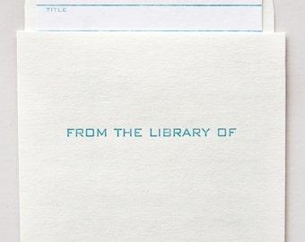 library card and pocket set - letterpress printed