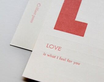 love - letterpress printed flashcard notecard