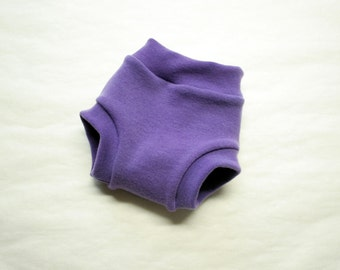 interlock soaker - hand dyed merino wool diaper cover - PLUM - super soft custom order rebourne pull up cover