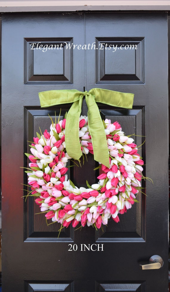 Pink Tulip Spring Wreath- Door Wreath- Easter Wreath- Tulip Wreath- 20 inch shown, custom colors- The Original Tulip Wreath