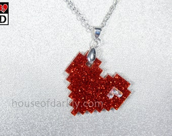 special edition 8bit Love Glitter Red necklace with rhinestone accents and gift box