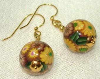 Wearable Garden Polymer Clay Sphere Earrings - Yellow, Taupe, and Brown Flowers in Gold - OOAK - Free Shipping within the U.S.