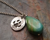 Turquoise and  Wolf Print Necklace