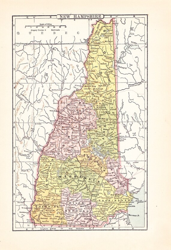 1903 State Map New Hampshire - Vintage Antique Map Great for Framing 100 Years Old