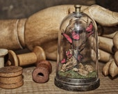 Sculpture Butterflies in a Bell Jar  Miniature Natural History Gifts