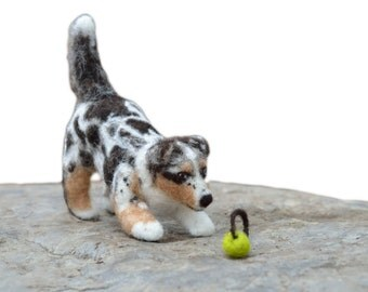 Felted Miniature Pet DOG in Wool- Custom Dog Portrait - Personalized Gift- Custom Sculpture of Your Pet