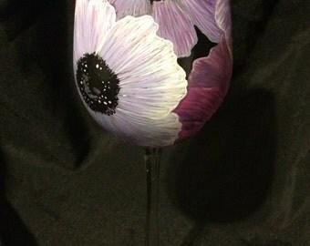 Hand Painted Purple Anemones Wine Glass