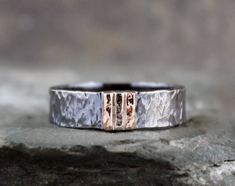Men's Wedding Band - Black Sterling Silver & 14K Rose and White Gold - Rustic Wedding Bands - Hammered Bands - Made in Canada - Mixed Metals