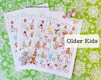 10 Christmas Bingo Game / For Older Kids / School Christmas Party Games / Family Christmas Game / Church Christmas Party Game