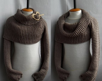Bolero Scarf Shawl with sleeves at both ends in brown. New fashion autumn wrap or shrug. FREE worldwide shipping