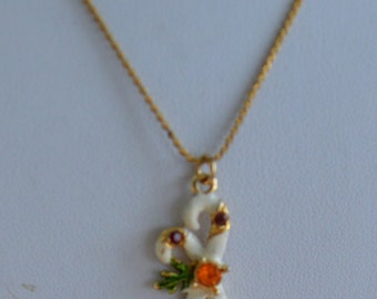 "Cute Vintage Enamel, Rhinestone Candy Cane Pendant Necklace, Children's, 15"""