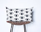 """I Only Have Eyes For You - organic, hand printed, black and white, 12""""x20"""" lumbar, eye pattern pillow"""