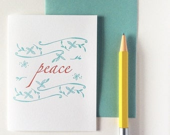 Letterpress Winter Holiday Christmas Peace - Holiday Cards - Set of 12 Corporate Holiday Cards