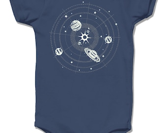 Organic Baby Clothes, baby Clothing Planets baby bodysuit Galaxy Baby One Piece Infant One Piece Baby Shirt to the moon and back Onsie