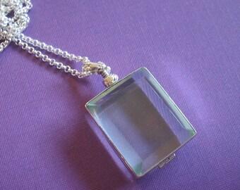 Glass Locket Necklace - Rectangle Sterling Silver on Sterling Silver Chain - Keepsake Item (GLSRE-01)