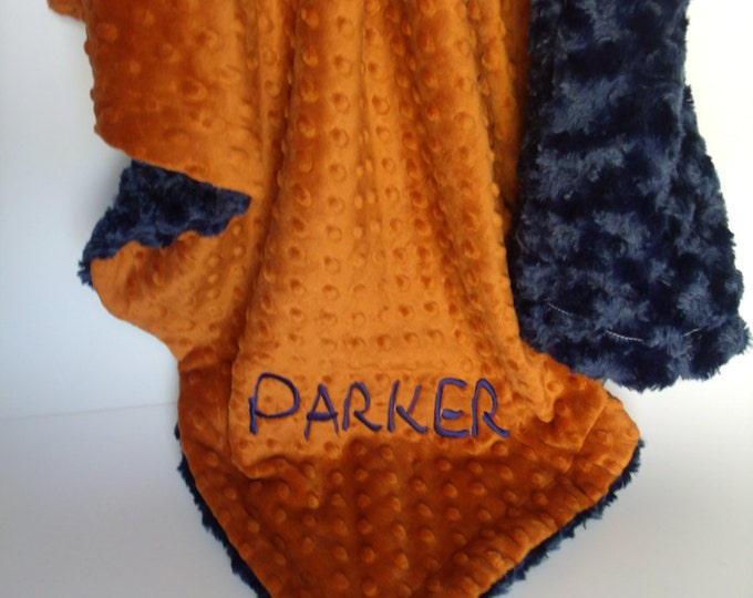 Burnt Orange and Navy blue Swirl Minky Baby Blanket - for boy Can Be Personalized