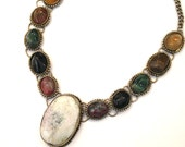 Vintage Bohemian Raw ROCK Polished Stone & Silver Boho Festival STATEMENT Necklace COLLAR Choker