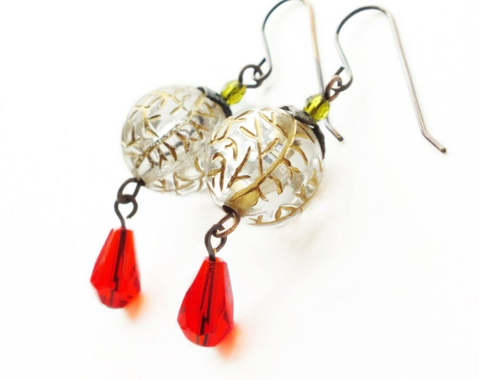 Gold Crackle Earrings Christmas Dangle Earrings Ice Earrings Vintage Bead Earrings Victorian Holiday Jewelry Gold Red Earrings