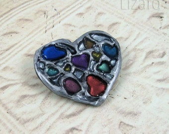 Many Colored Hearts Brooch, mixed media multicolor heart pin