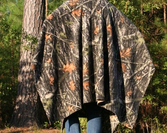 Camo Hooded Fleece Poncho with Crew or V-Neck Real Tree Camouflage