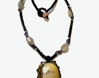 MILK AGATE macrame Necklace - Your Stone for Protection