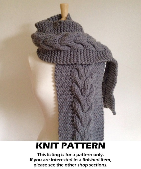 Cable Knit Scarf Pattern : Cable knit scarf pattern cable scarf pattern chunky knit