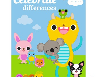 Celebrate Differences / Tolerance Poster for home or school, digital download