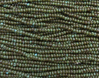 6/0 Opaque Turquoise HEAVY Picasso Czech Glass Seed Bead Strand (CW188)