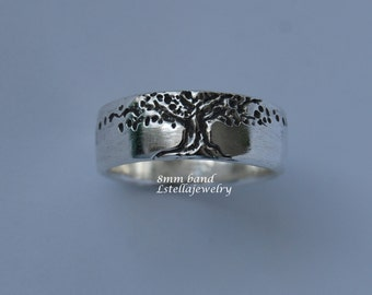 Tree of Life Band 8mm wide Mans sterling band Men's single band wedding
