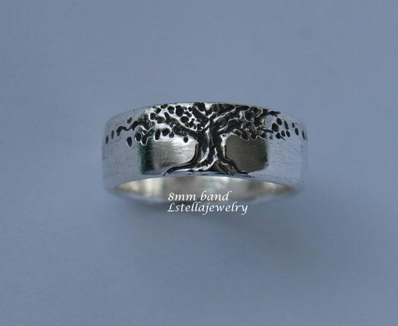 Tree of Life Band 8mm wide Mans sterling Large Sizes single wedding Engagement Wedding