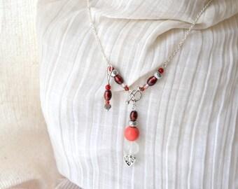 "Goddess Sjofn Quartz Pendulum Necklace -Silver, Red Coral, Howlite -Handmade OOAK- 19"", Divination, Meditation, Free Shipping, Healing Stone"
